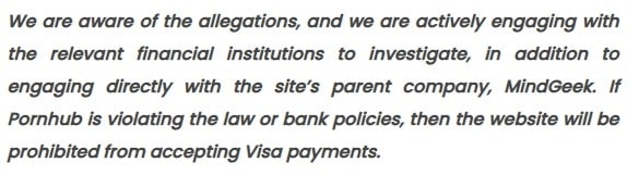 To this Visa said